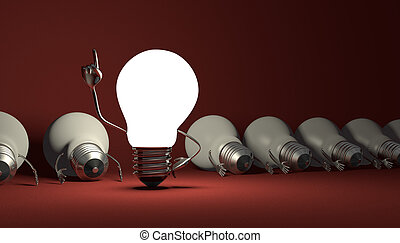 Light bulb character, aha moment on red - Glowing light bulb...