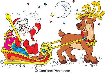 Santa's sleigh - Santa Claus in his sleigh with a reindeer