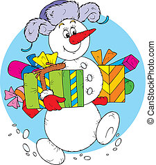 Snowman with Christmas gifts - funny snowman smiling and...