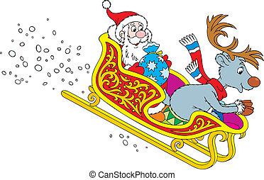 Santa's sleigh - Santa Claus and Reindeer sliding down in...