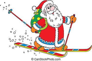 Santa skier - Santa Claus skiing with his bag of Christmas...