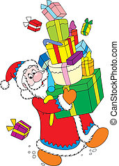 Santa and gifts - Santa Claus carrying a big pile of...