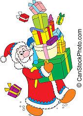 Santa and gifts - Santa Claus carrying a big pile of...