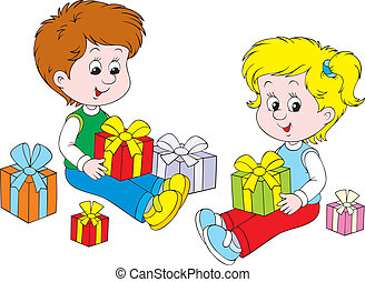 Gifts - Little girl and boy with gift boxes