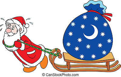 Santa with gifts - Santa Claus dragging his sleigh with a...