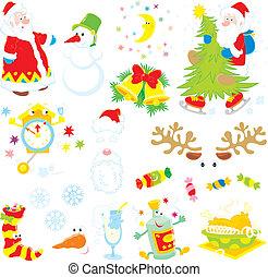 Set of Christmas clip-arts - Santa Claus, snowman, moon and...