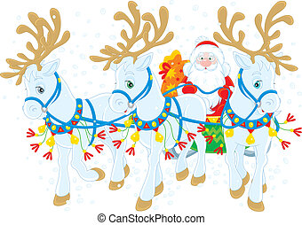 Santas sleigh - Santa Claus carrying Christmas gifts in his...