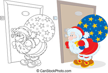 Santa with Christmas gifts - Santa Claus holding his bag of...