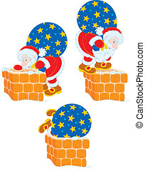 Santa stuck in a chimney - Santa Claus with his bag of...