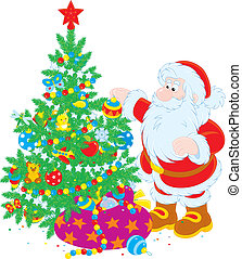 Santa and Christmas tree - Santa Claus decorating a fir for...