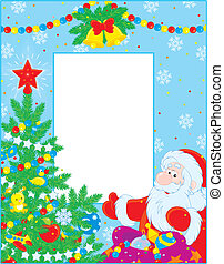 Christmas border - Colorful border with Santa Claus and...