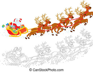 Sleigh of Santa - Santa Claus with Christmas gifts in his...