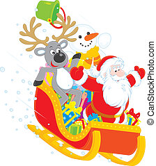 Santa, Reindeer and Snowman - Santa Claus with Reindeer and...