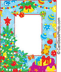 Christmas border - Colorfully decorated border with...