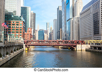 Chicago River - City of Chicago downtown and River with...