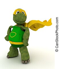 tortoise superhero - 3D render of a tortoise superhero