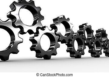 Metal cogs and wheels connecting on white background