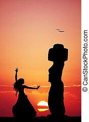 Moai, Easter Island - illustration of Moai, Easter Island