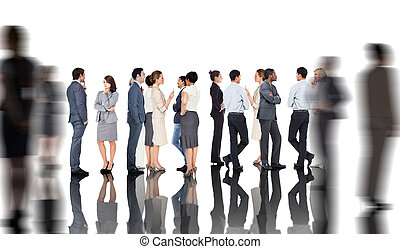 Composite image of many business people standing in a line -...