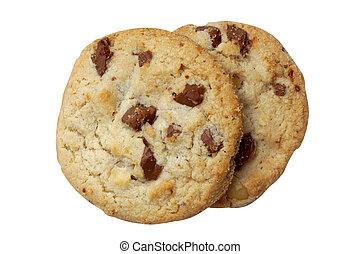 Milk chocolate macadamia, Chocolate chunk crispy cookies.