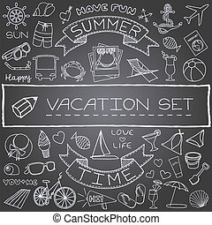 handdrawn vacation icons - Hand drawn vacation icons set,...