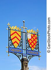 Town sign, Chipping Campden. - Colourful wrought iron town...