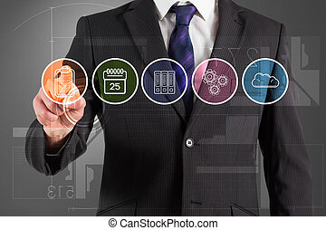 Composite image of businessman in suit pointing finger at...