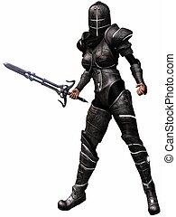 femme, chevalier