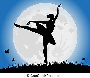 dance and full moon - vector silhouette dancing girl and...