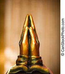 bronze, orando, mãos