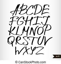 Handwritten calligraphic black watercolor alphabet