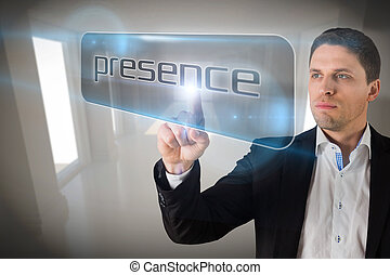 Businessman pointing to word presencece - Businessman...