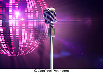 Composite image of retro microphone - Retro microphone on...
