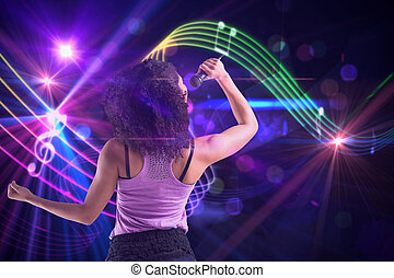 Composite image of pretty girl singing - Pretty girl singing...