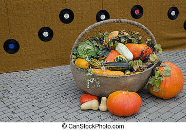 autumn decoration of vegetable in wicker backet - autumn...