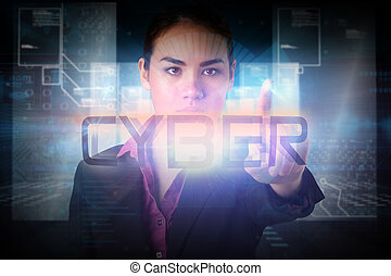 Businesswoman pointing to the word cyber against hologram on...