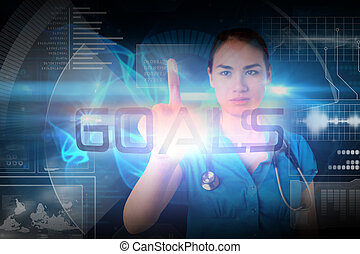 Doctor pointing to the word goals against glowing swirl on...