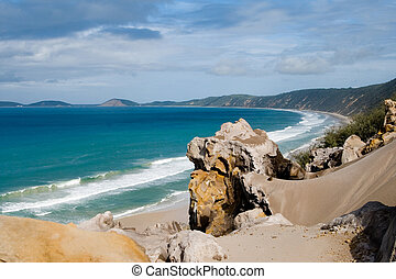 Rainbow Beach Australien - View over Rainbow...