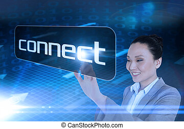 Businesswoman pointing to word connect against grid and...