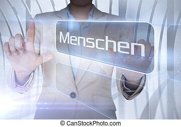 Businessman presenting the word people in german against...