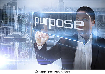 Businessman presenting the word purpose against room with...