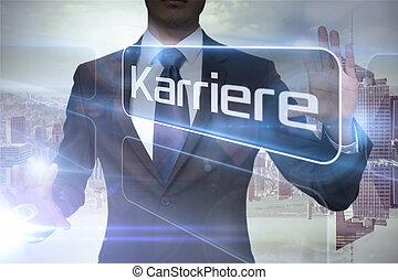 Businessman presenting the word careers in german against...