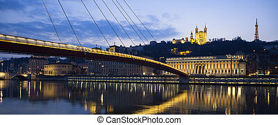Panoramic view of Saone river at Lyon by night, France