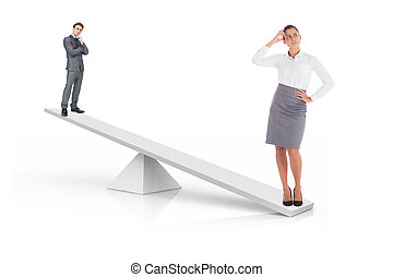 White scales weighing businessman and businesswoman on white...