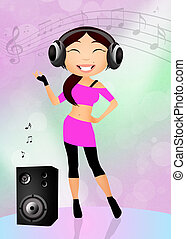 girl with headphones - illustration of girl with headphones