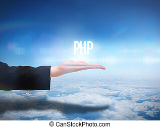 Businesswomans hand presenting the word php against blue sky...