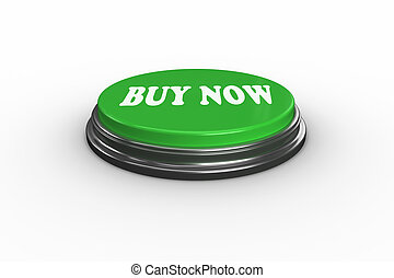 Buy now on digitally generated green push button - The words...