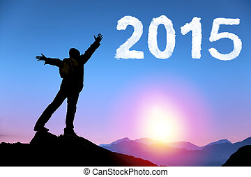 happy new year 2015 young man standing on the top of...