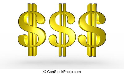 Three Golden Dollar Signs - Computer generated image. White...