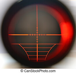 Sniper scope - Snipe scope telescope close up with red light